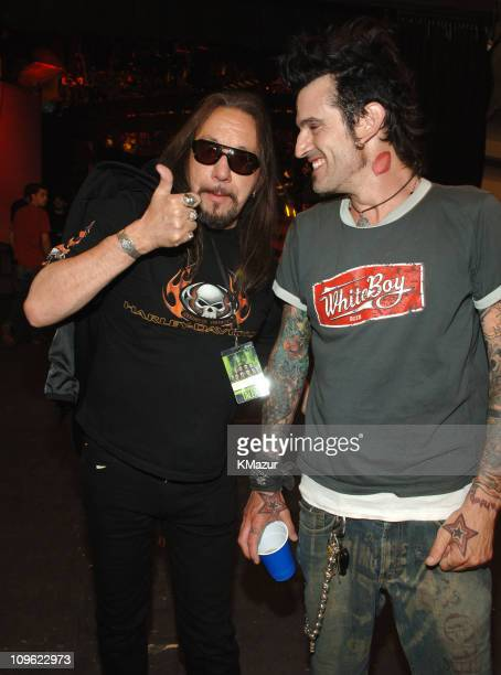 Ace Frehley and Tommy Lee during 2006 VH1 Rock Honors Rehearsals Day Two at Mandalay Bay Hotel and Casino in Las Vegas Nevada United States