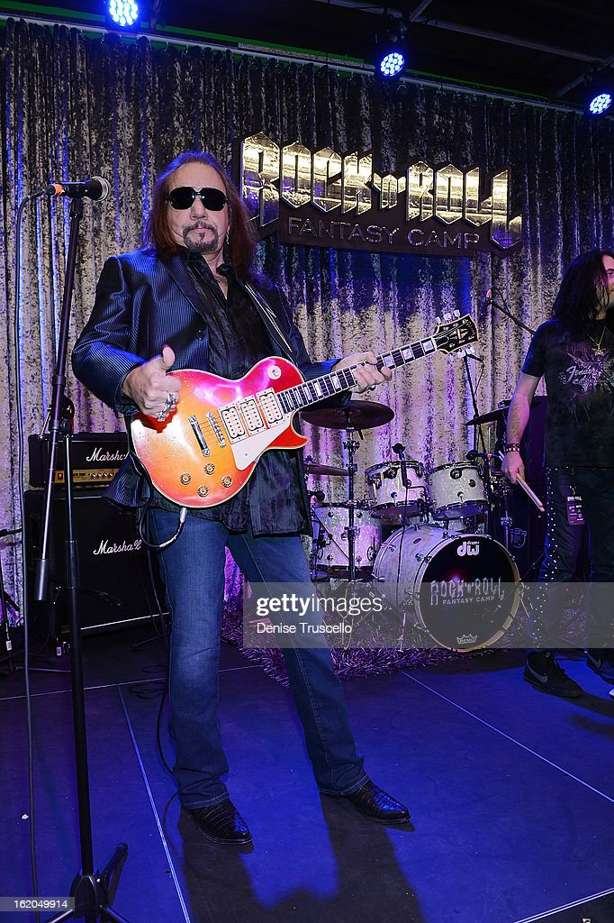 <a gi-track='captionPersonalityLinkClicked' href=/galleries/search?phrase=Ace+Frehley&family=editorial&specificpeople=226761 ng-click='$event.stopPropagation()'>Ace Frehley</a> during Rock 'n' Roll Fantasy Camp in Las Vegas on February 18, 2013 in Las Vegas, Nevada.