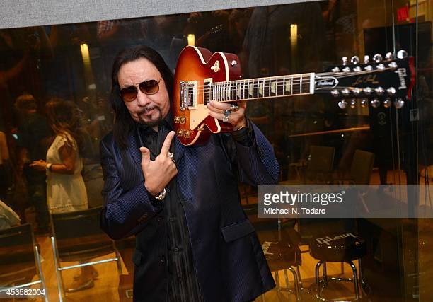 Ace Frehley holding a 12string Gibson Les Paul Standard guitar attends the Ace Frehley listening party for upcoming new album 'Space Invader' at...