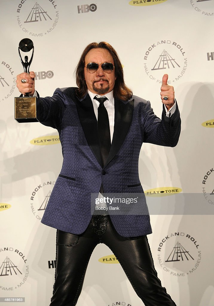<a gi-track='captionPersonalityLinkClicked' href=/galleries/search?phrase=Ace+Frehley&family=editorial&specificpeople=226761 ng-click='$event.stopPropagation()'>Ace Frehley</a> of KISS attends the 29th Annual Rock And Roll Hall Of Fame Induction Ceremony at Barclays Center on April 10, 2014 in the Brooklyn borough of New York City.