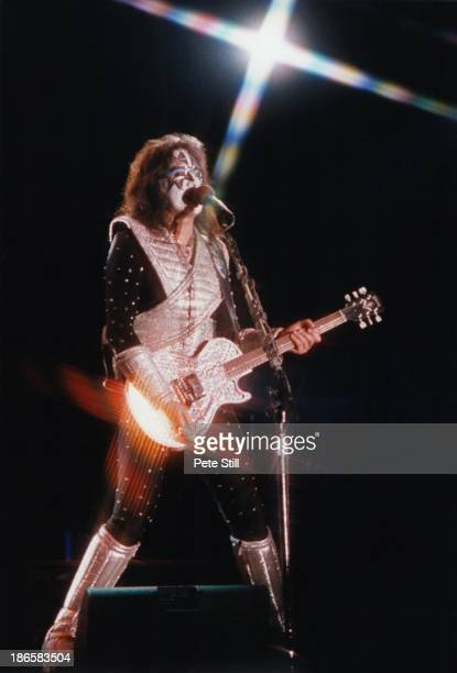 Ace Frehley of Kiss performs on stage at Finsbury Park on May 7th 1997 in London England