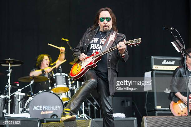 Ace Frehley performs onstage during day 2 of Download Festival at Donnington Park on June 13 2015 in Donnington United Kingdom