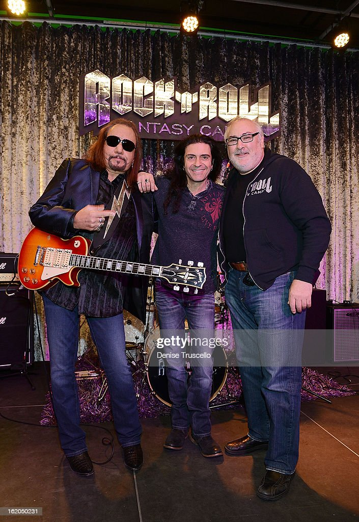 <a gi-track='captionPersonalityLinkClicked' href=/galleries/search?phrase=Ace+Frehley&family=editorial&specificpeople=226761 ng-click='$event.stopPropagation()'>Ace Frehley</a>, Phil Sausson and David Fishof during Rock 'n' Roll Fantasy Camp in Las Vegas on February 18, 2013 in Las Vegas, Nevada.