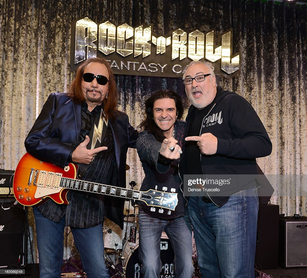 Ace Frehley, Phil Sausson and David Fishof during Rock 'n' Roll Fantasy Camp in Las Vegas on February 18, 2013 in Las Vegas, Nevada.