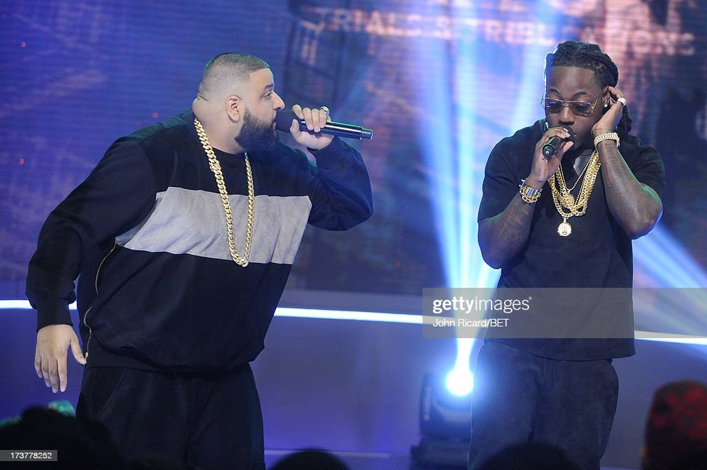 Ace Hood and <a gi-track='captionPersonalityLinkClicked' href=/galleries/search?phrase=DJ+Khaled&family=editorial&specificpeople=577862 ng-click='$event.stopPropagation()'>DJ Khaled</a> perform at BET's 106 & Park at BET Studios on July 17, 2013 in New York City.