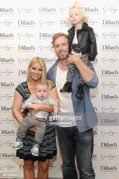 Ace Johnson Jessica Simpson Eric Johnson and Maxwell Johnson attend a Jessica Simpson Collection event at Dillard's on November 23 2013 in Dallas...