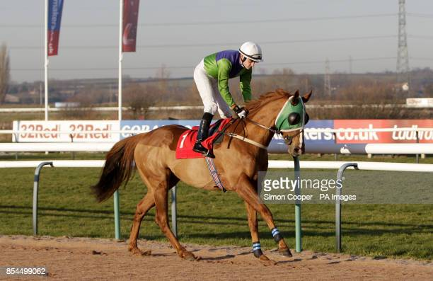 Ace Master ridden by Mark Coumbe goes to post at Southwell Racecourse