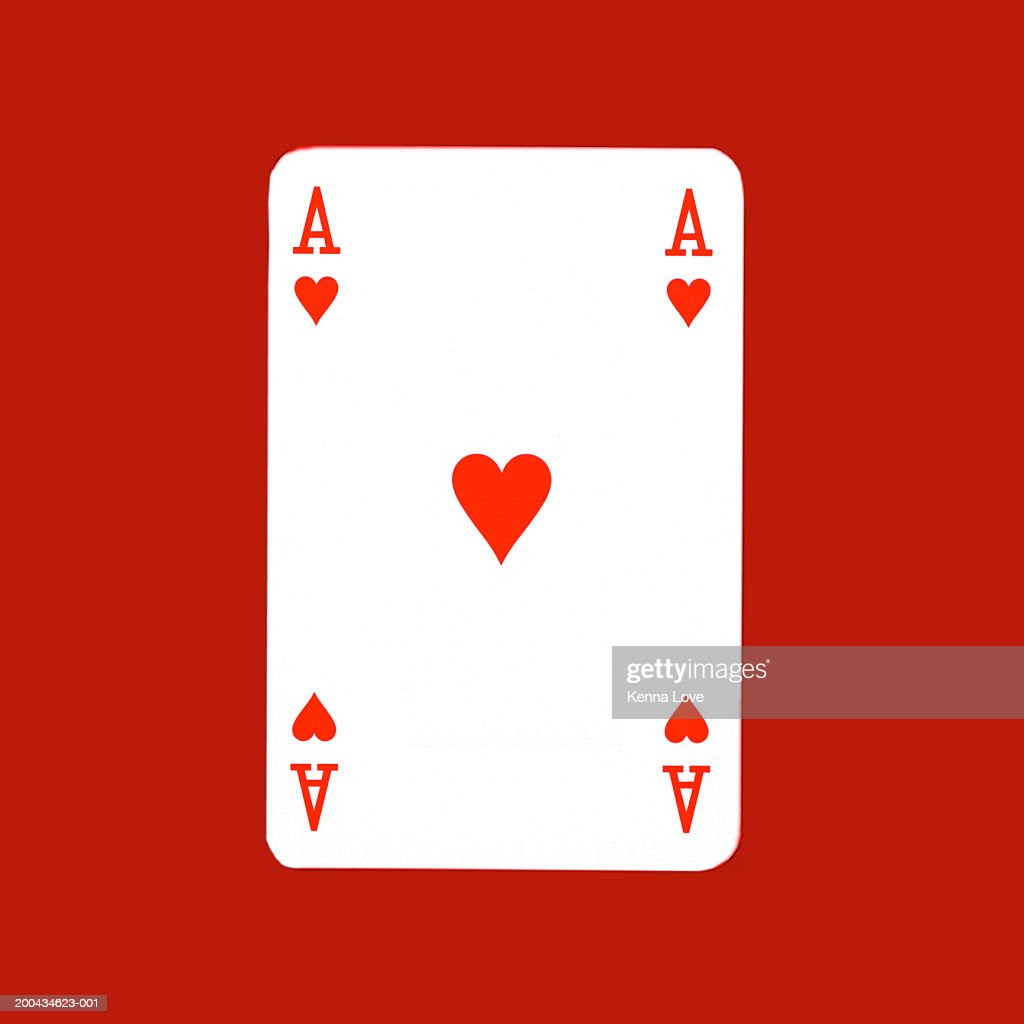 Ace of hearts playing card, close-up : Stock Photo