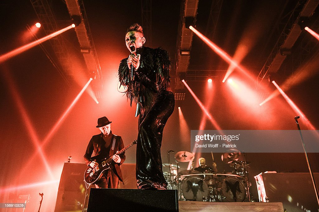 Ace, Skin and Mark Richardson from Skunk Anansie perform at Le Zenith on November 24, 2012 in Paris, France.