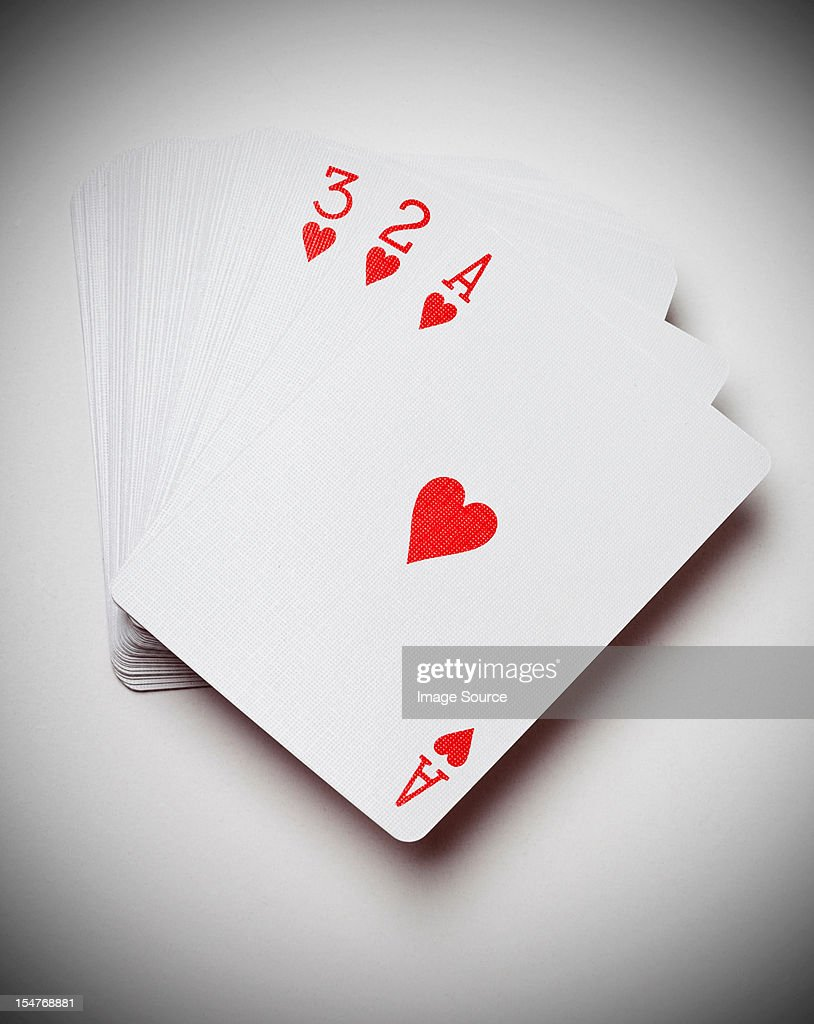 Ace, two and three of hearts : Stock Photo