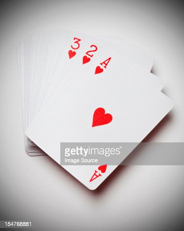 Ace, two and three of hearts