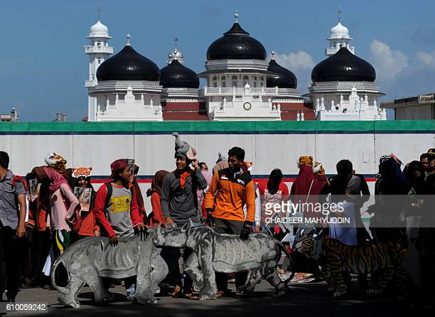 Acehnese students hold cutouts of endangered animals during a rally as part of a 'Global March' for Rhinos Elephants Tigers and Orangutans in Banda...