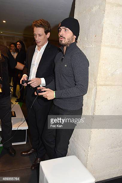 Acer Marketing director Fabrice Massin and Maxime Musqua attend the Acer Pop Up Store Launch Party at Les Halles on November 20 2014 in Paris France