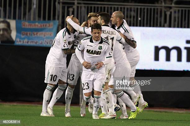 Acerbi Francesco of Sassuolo celebrates the goal during the Serie A match between Cagliari Calcio and US Sassuolo Calcio at Stadio Sant'Elia on...