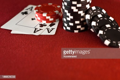 Aces, Casino Chips, Red Poker Table