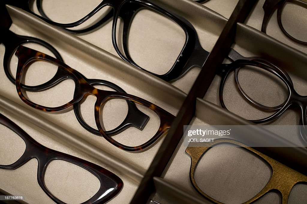 Acetate rims glasses of the Maison Bonnet are displayed at the group's store in Paris on December 6, 2012. AFP PHOTO / JOEL SAGET