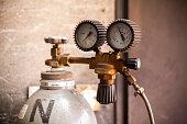 acetylene bottle with pressure regulator, close up