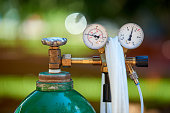 Welding gas cylinder pressure gauge close up