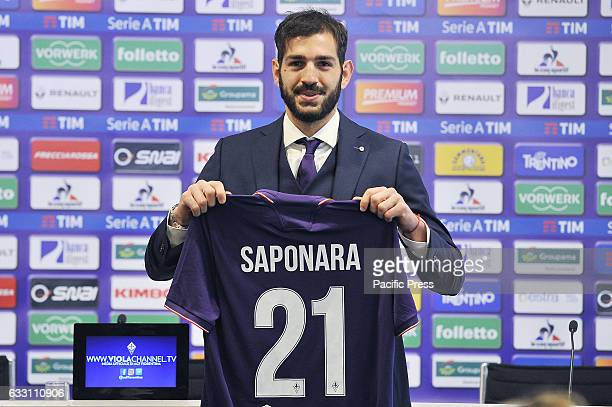 Acf Fiorentina's new attacking midfielder Riccardo Saponara poses for photographers during his presentation as new player of the Italian Serie A...