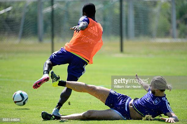 Acheampong Frank forward of Rsc Anderlecht and Gillet Guillaume of Rsc Anderlecht pictured during the training session of RSC Anderlecht at the Irene...