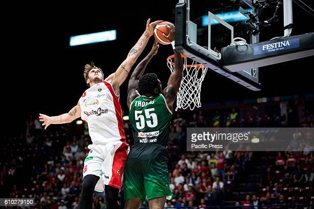 Achille Polonara make a block to Adonis Thomas during the semifinal of Macron Supercoppa 2016 basketball match between Sidigas Avellino vs Grissin...