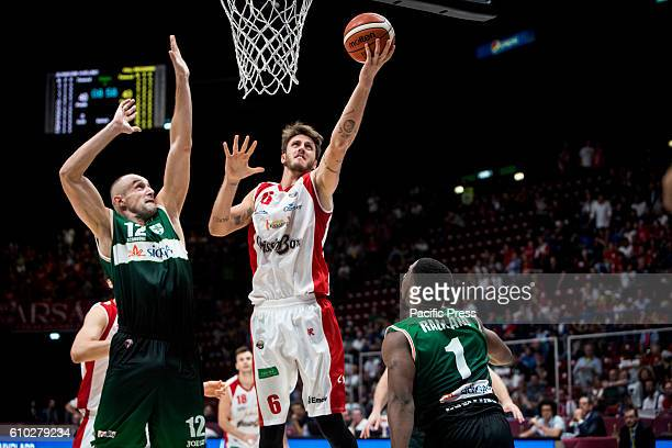 Achille Polonara shoots a layup during the semifinal of Macron Supercoppa 2016 basketball match between Sidigas Avellino vs Grissin Bon Reggio Emilia...
