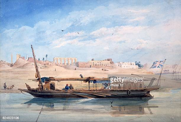 AchilleConstant Prisse d'Avennes French school A Kanja on the Nile at Luxor Temple of Luxor behind Watercolour