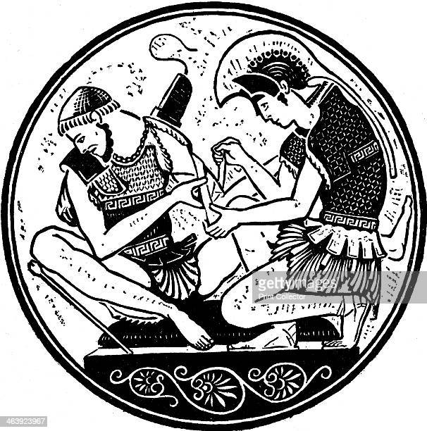 Achilles bandaging the wound of Patroclus c1900 Scene after decoration on an antique vase from the epic poem Iliad by Homer The hero Achilles...