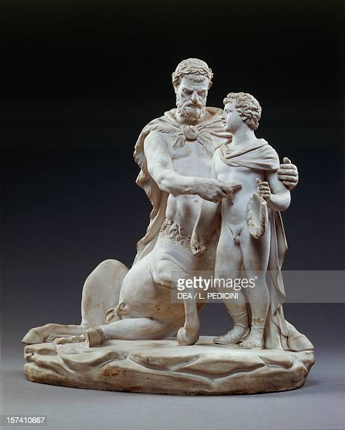 Achilles being educated by the centaur Chiron by Filippo Tagliolini bisque porcelain height 305 cm Royal Workshop of King Ferdinand manufacture...