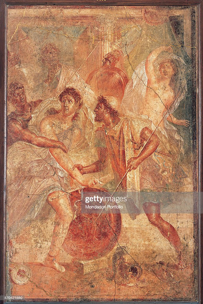 http://media.gettyimages.com/photos/achilles-in-sciro-by-unknown-artist-6279-1st-century-ad-ripped-fresco-picture-id470421550