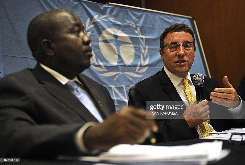 Achim Steiner (R), UNEP Executive Director talks on January 10, 2013 during a joint press conference with Richard Mwendandu, Kenya's Environment ministry's Director of mineral resources in Nairobi, Kenya, where he said that mercury, which exists in various forms remains a global threat to human health and the environment. Parts of Africa, Asia and South America could see increasing emissions of mercury into the environment, owing mainly to the use of the element in small-scale gold mining and to the burning of coal for electricity generation. The announcement comes ahead of a major conference on mercury to be held in Geneva next week and that aims to conclude discussions on a global treaty to minimise risks from mercury exposure. AFP PHOTO/Tony KARUMBA
