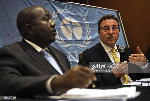 Achim Steiner UNEP Executive Director talks on January 10 2013 during a joint press conference with Richard Mwendandu Kenya's Environment ministry's...