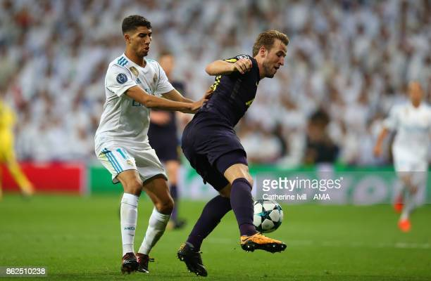 Achraf Hakimi of Real Madrid and Harry Kane of Tottenham Hotspur during the UEFA Champions League group H match between Real Madrid and Tottenham...