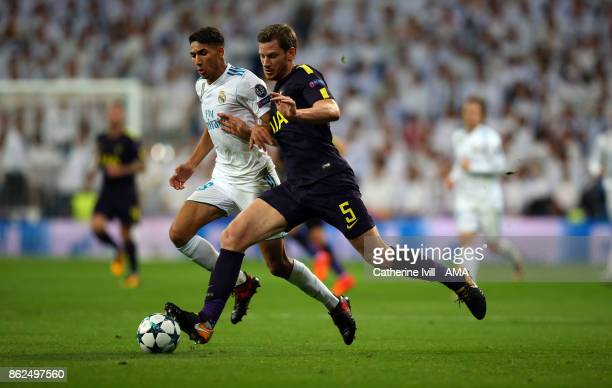 Achraf Hakimi of Real Madrid and Jan Vertonghen of Tottenham Hotspur during the UEFA Champions League group H match between Real Madrid and Tottenham...