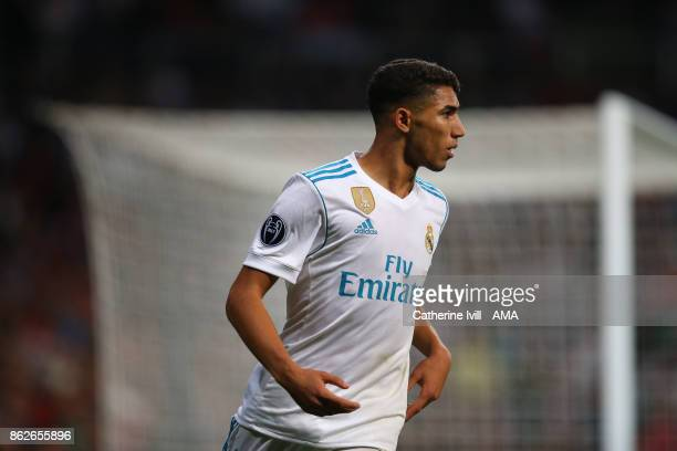 Achraf Hakimi of Real Madrid during the UEFA Champions League group H match between Real Madrid and Tottenham Hotspur at Estadio Santiago Bernabeu on...