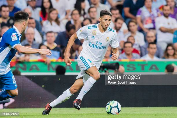 Achraf Hakimi of Real Madrid in action during the La Liga 201718 match between Real Madrid and RCD Espanyol at Estadio Santiago Bernabeu on 01...