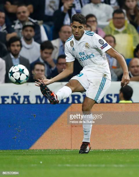 Achraf Hakimi of Real Madrid in action during the UEFA Champions League group H match between Real Madrid CF and Tottenham Hotspur at Estadio...