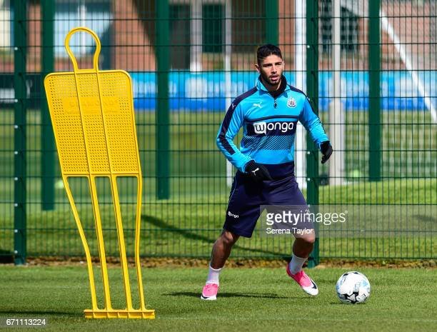 Achraf Lazaar controls the ball during the Newcastle United Training Session at the Newcastle United Training Ground on April 21 2017 in Newcastle...