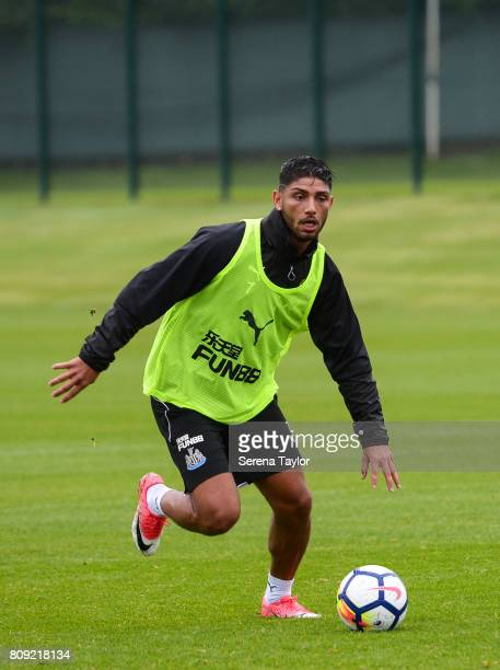 Achraf Lazaar controls the ball during the Newcastle United Training session at the Newcastle United Training Centre on July 5 in Newcastle upon Tyne...