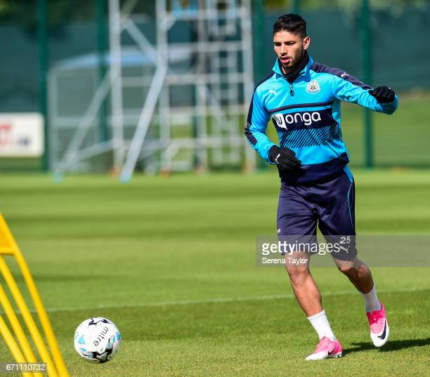 Achraf Lazaar passes the ball during the Newcastle United Training Session at the Newcastle United Training Ground on April 21 2017 in Newcastle upon...