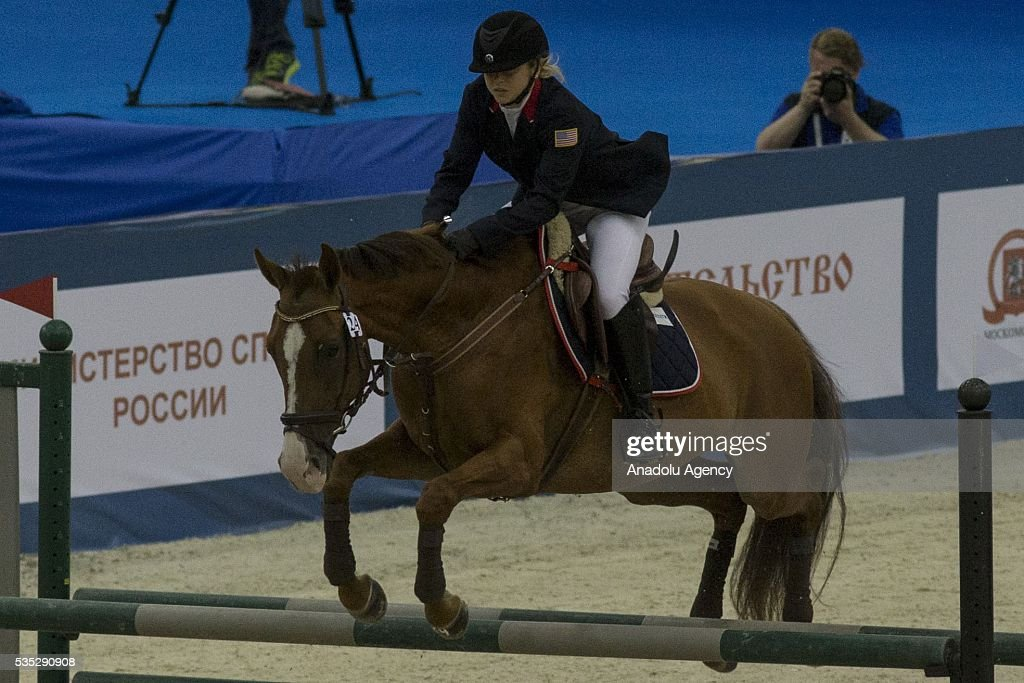 Achterberg Samantha from USA competes in the riding at the mixed relay World Championship in modern pentathlon in Moscow in Olympic Sports Complex in Moscow, Russia, on May 29, 2016.