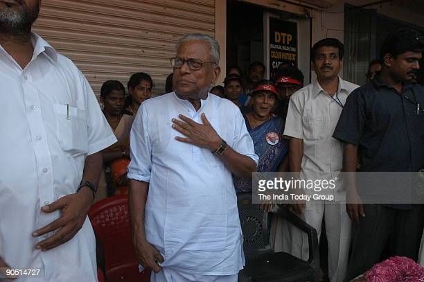 Achuthanandan Communist Party of India [CPI] Politburo Member after winning the Assembly Election in Malampuzha Palakkad Kerala India