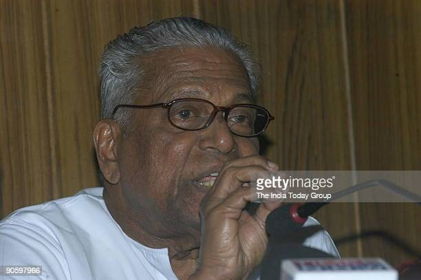 Achuthanandan Communist Party of India [CPI] Politburo Member and Chief Minister of Kerala addressing the Media in New Delhi India