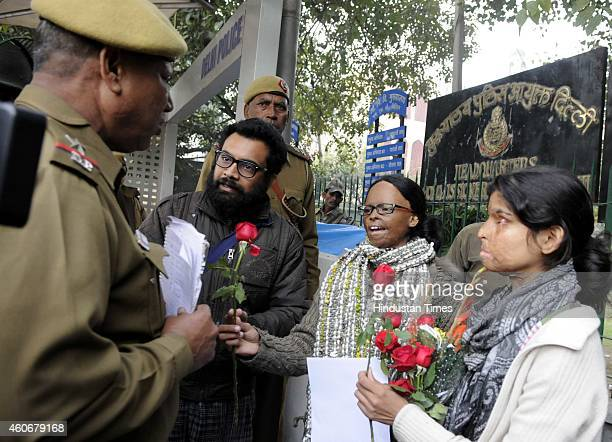 Acid attack survivors protest demanding action against brutality by Delhi police on the survivors at Parliament police Station on December 18 2014 in...