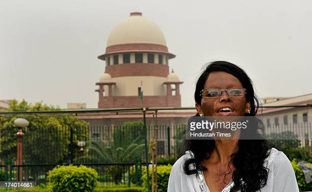 Acid attack victim Laxmi at Supreme Court after verdict on plea filed by her on the regulation of sale of the chemicals at the retail level on July...