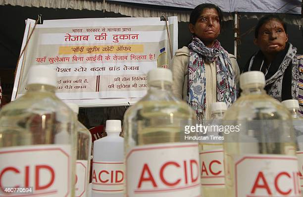 Acid attack victims sit on hunger strike demanding fasttrack court for violence against women and effective and stringent laws against acid attacks...