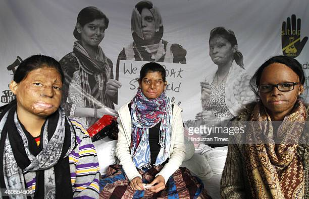 Acid attack victims sit on indefinite hunger strike on the 5th day demanding fasttrack court for violence against women at Jantar Mantar on December...