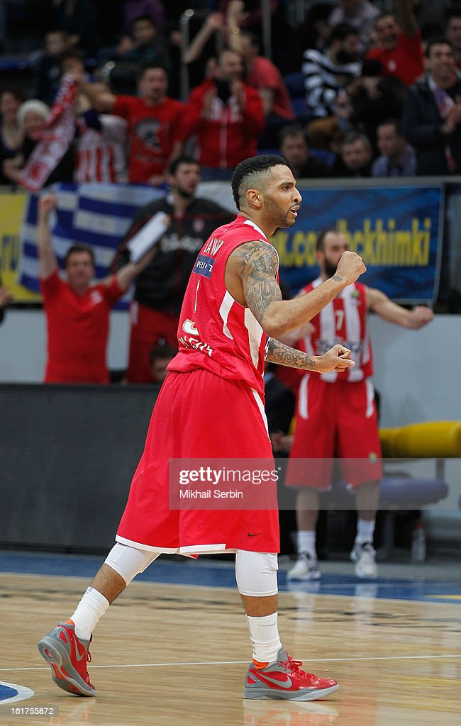 Acie Law, #5 of Olympiacos Piraeus in action during the 2012-2013 Turkish Airlines Euroleague Top 16 Date 7 between BC Khimki Moscow Region v Olympiacos Piraeus at Basketball Center of Moscow on February 15, 2013 in Moscow, Russia.