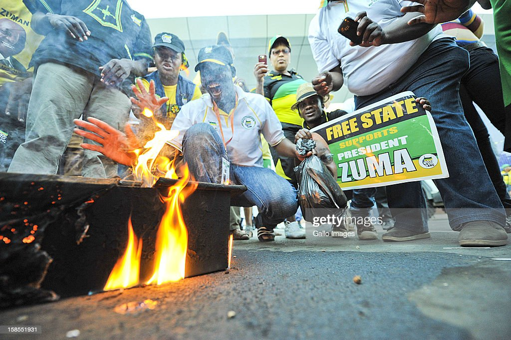 acob Zuma supporters burn a small mock coffin for the Kgalema Motlanth supporters on Day 3 of the ANC Conference which saw Jacob Zuma re-elected as ANC President on December 17, 2012, in Bloemfontein, South Africa. Cyril Ramaphosa was elected Deputy President, Gwede Mantashe Secretary General and Jesse Duarte as Deputy Secretary General.