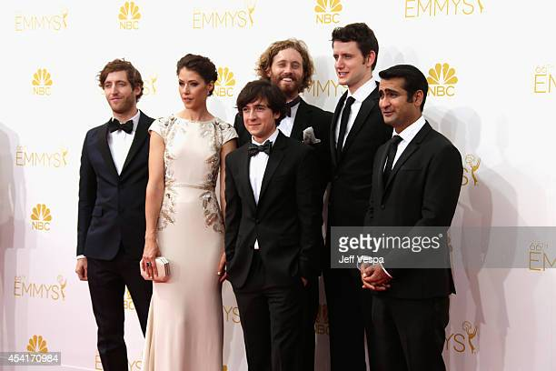 Acors Thomas Middleditch Amanda Crew TJ Miller Josh Brener Zach Woods and Kumail Nanjiani attend the 66th Annual Primetime Emmy Awards held at Nokia...